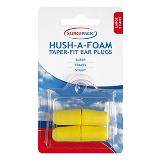 Image for SurgiPack Hush-A-Foam Taperfit Large Ear Plugs - 2 Pair from Amcal