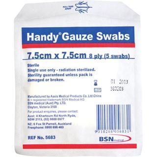 Image for Handy Gauze Sterile Swabs 7. 5X7. 5cm - 5 Pack from Amcal