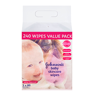 Image for Johnson's Baby Skincare Scented Wipes - 3 x 80 Pack from Amcal