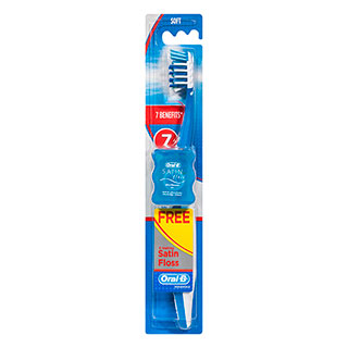 Image for Oral-B CrossAction Pro-Health 7 Benefits Toothbrush w/bonus Satin Floss 5M - Soft from Amcal