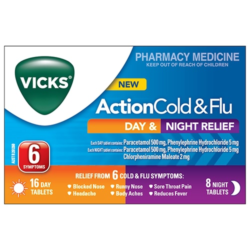 Image for Vicks Action Cold & Flu Day & Night - 24 Tablets from Amcal