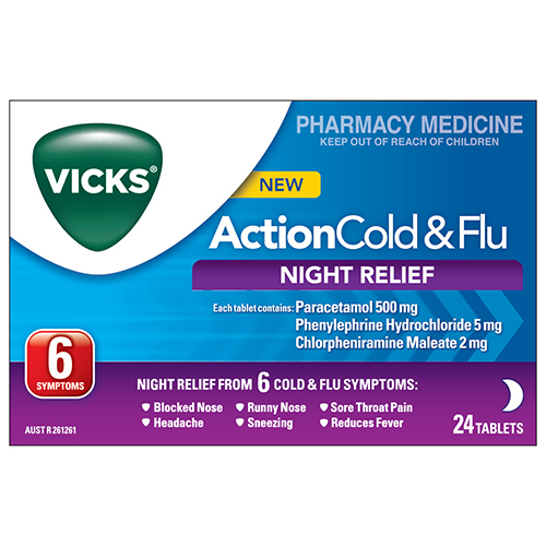 Image for Vicks Action Cold & Flu Night - 24 Tablets from Amcal