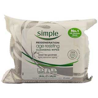 Image for Simple Regeneration Facial Wipes Age Resisting - 25 Pack from Amcal