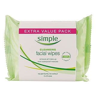 Image for Simple Kind To Skin Facial Wipes Cleansing Twin Pack - 50 Wipes from Amcal