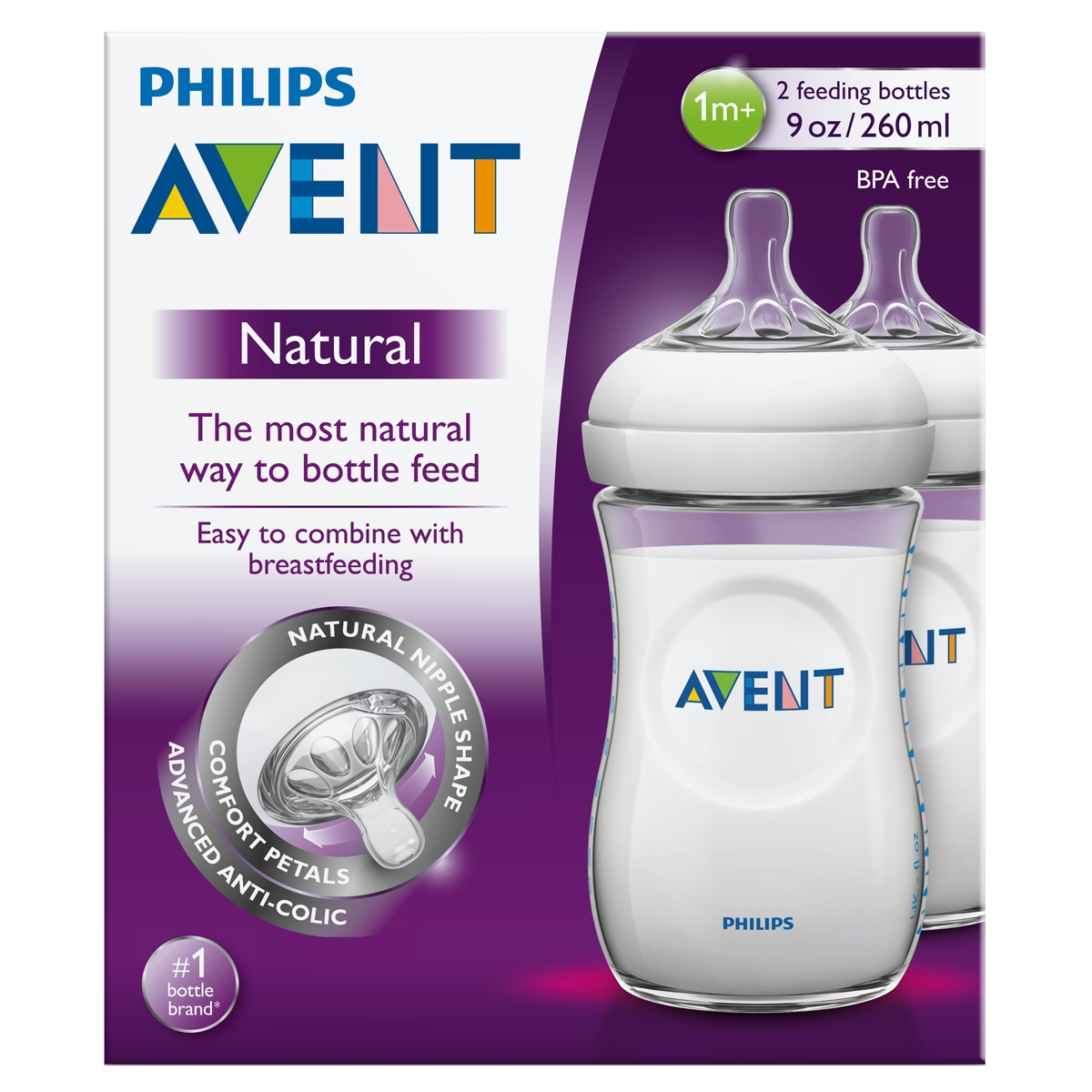 Avent Natural Feeding Bottle 2 Pack 260ml Amcal