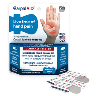 Image for CarpalAid Pain Relief Hand Patch Large - 6 Pack from Amcal