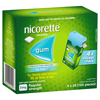 Image for Nicorette Quit Smoking Gum Icy Mint Regular Strength 2mg - 100 Pack from Amcal