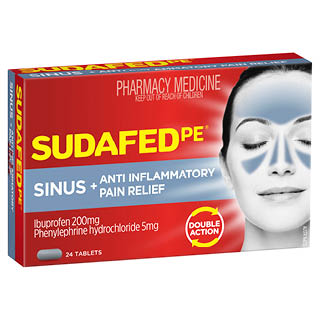 Image for Sudafed Pe Sinus & Anti-Inflammatory Pain Relief - 24 Tablets from Amcal