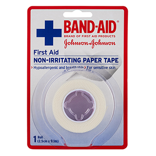 Image for Band-Aid First Aid Non- Irritating Paper Tape - 2.5cm X 9.1m from Amcal