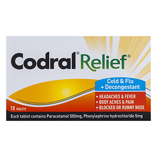 Image for Codral Relief Cold & Flu plus Decongestant - 10 Tablets from Amcal