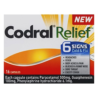 Image for Codral Relief 6 Signs - 16 Capsules from Amcal