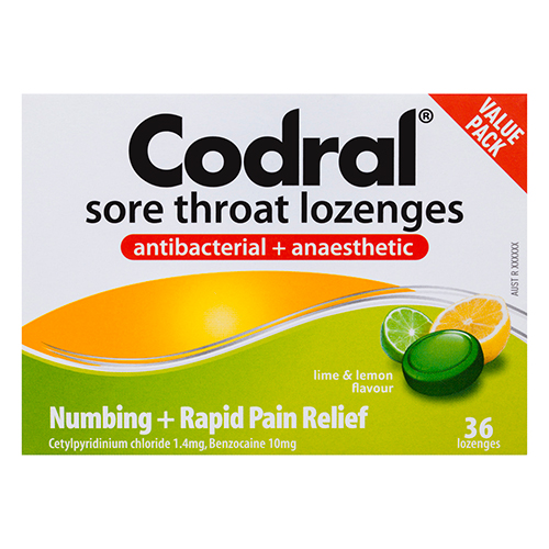 Image for Codral Sore Throat Lozenges Antibacterial + Anaesthetic - 36 Pack from Amcal