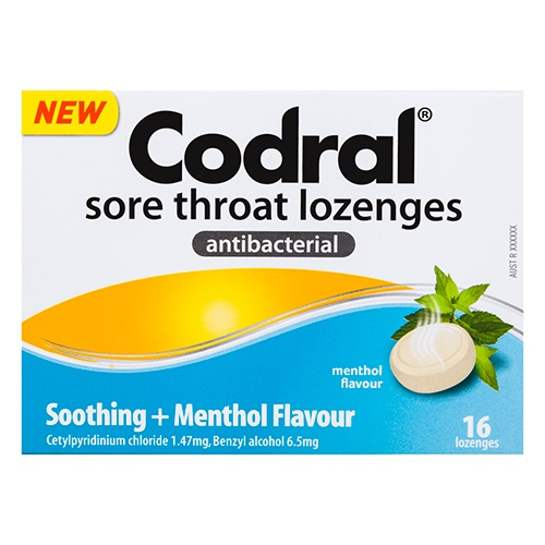 Image for Codral Sore Throat Lozenges Antibacterial - 16 Pack from Amcal
