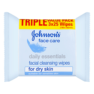 Image for Johnson's Daily Essentials Facial Wipes Dry Skin Tri Pack 3 x 25 Pack from Amcal