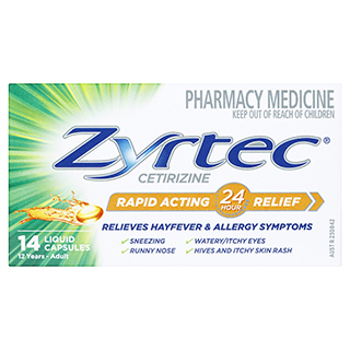 Image for Zyrtec Rapid Acting Liquid - 14 Capsules from Amcal