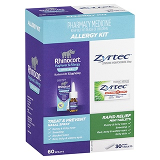 Image for Rhinocort Nasal Spray Plus Zyrtec Rapid Relief Mini Tablets Allergy Ki from Amcal