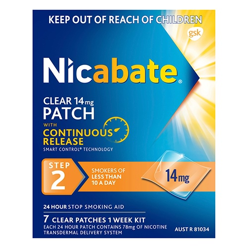 Image for Nicabate Clear Patch 14 Mg Step 2 - 7 Pack from Amcal