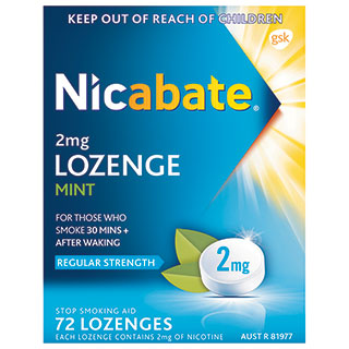 Image for Nicabate 2mg - 72 Lozenges from Amcal