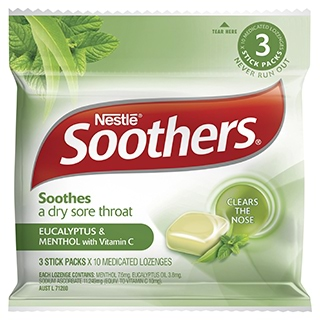Image for Soothers Eucalyptus & Menthol - 3 Stick Packs & 10 Medicated Lozenges from Amcal