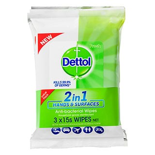 Image for Dettol 2 in 1 Hands & Surfaces Anti-Bacterial Wipes - 3 x 15 Pack from Amcal