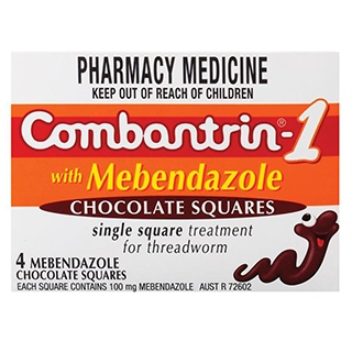 Image for Combantrin 1 with Mebendazole 4 Chocolate Squares from Amcal