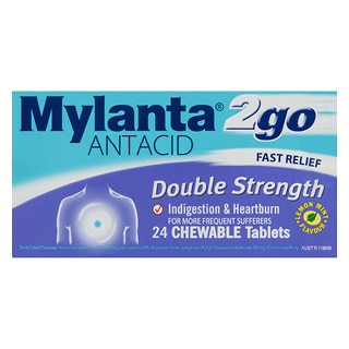 Image for Mylanta 2 Go Double Strength Chewable Tablets - 24 Pack from Amcal
