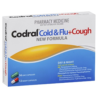Image for Codral PE Cold & Flu + Cough Day & Night 48 Capsules from Amcal