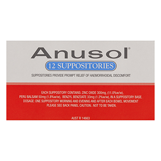 Image for Anusol Suppositories - 12 Pack from Amcal