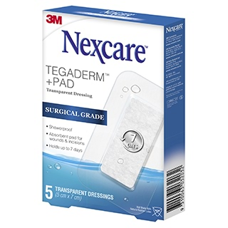 Image for Nexcare Tegaderm Waterproof Transparent Dressing 50mm x 70mm - 5 Pack from Amcal