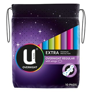 Image for U by Kotex Pads Maxi Overnight - 10 Pack from Amcal