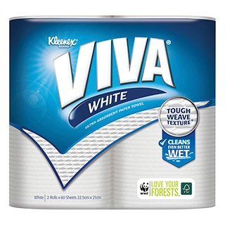 Image for Kleenex Viva Clever Cleaning White Paper Towel - 2 Pack from Amcal