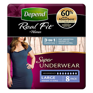Image for Depend Real Fit Underwear Women Super Large - 8 Pack from Amcal