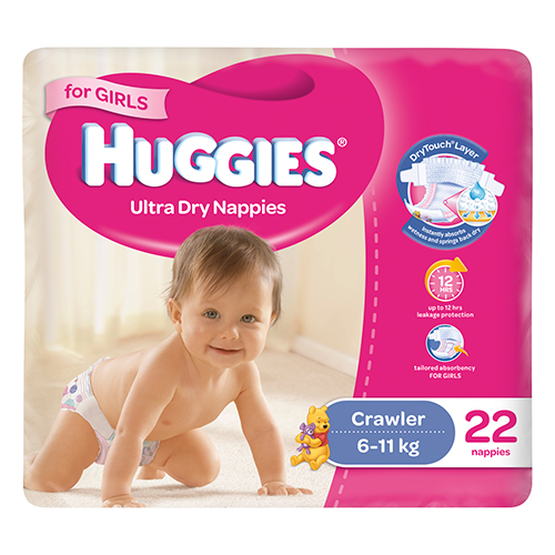 Image for Huggies Crawler Girl - 22 Pack from Amcal