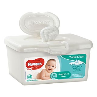Huggies Wipes Tub Unscented 80 Wipes Amcal