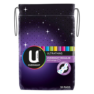 Image for U by Kotex Overnight Ultrathins Regular - 10 Pads from Amcal