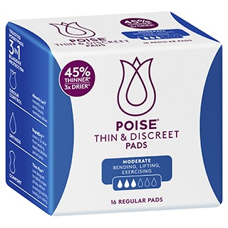 Image for Poise Thin & Discreet Regular Pads - 16 Pack from Amcal