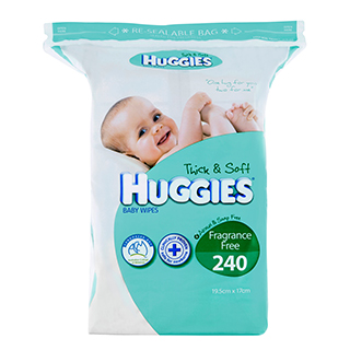 Image for Huggies Baby Wipes Refill Unscented - 240 Pack from Amcal