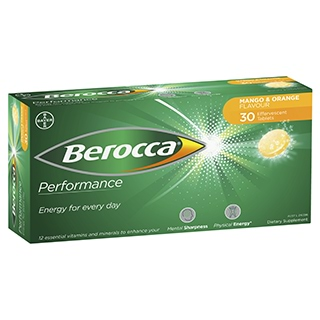 Image for Berocca Energy Vitamin Mango & Orange Effervescent Tablets 30 pack from Amcal
