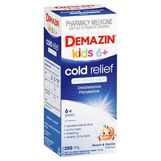 Image for Demazin Kids 6+ Cold Relief Colour Free Syrup - 200mL from Amcal