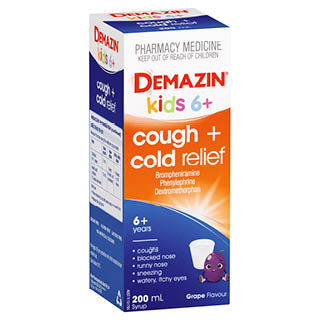Image for Demazin Kids 6+ Cough & Cold Relief Syrup - 200mL from Amcal