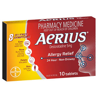 Image for Aerius 24 Hour Non Drowsy Allergy Relief Antihistamine Tablets - 10 Pa from Amcal