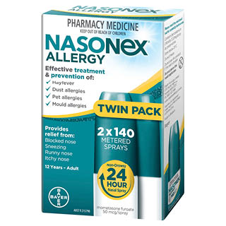 Image for Nasonex Allergy Non-Drowsy 24 Hour Nasal Spray Twin Pack 2 x 140 spray from Amcal