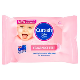 Image for Curash Wipes Fragrance Free Travel Pack - 20 Pack from Amcal