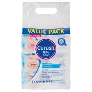 Image for Curash Soap Free Baby Wipes Value Pack - 3 x 80 Pack from Amcal