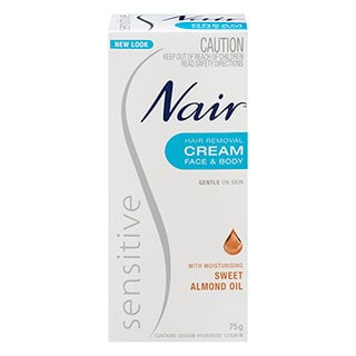 Image for Nair Sensitive Hair Removal cream with Sweet Almond - 75g from Amcal