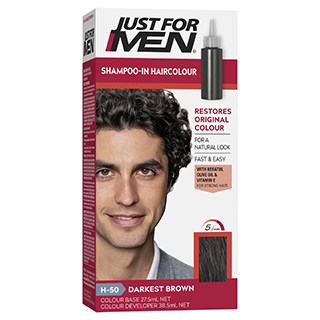 Image for Just For Men Shampoo-In Hair Colour 50 Darkest Brown from Amcal