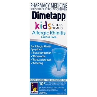 Image for Dimetapp Allergic Rhinitis Colour Free - Kids 2 - 5 years - 200mL from Amcal