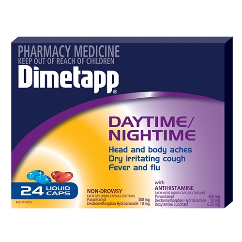 Image for Dimetapp Day/Night Pse Free - 24 Liquid Capsules from Amcal