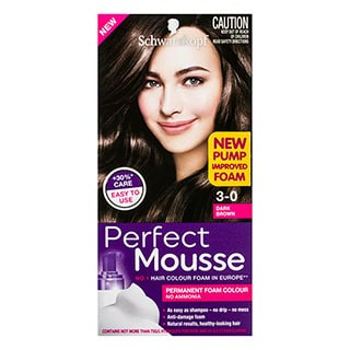 Image for Schwarzkopf Perfect Mousse Dark Brown 3-0 Hair Colour - 170mL from Amcal