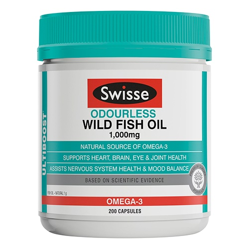 Image for Swisse Ultiboost Odourless Wild Fish Oil - 200 Capsules from Amcal